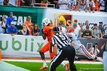 Miami WR Herb Waters catches the ball for the first Miami touchdown.  Gators vs Miami.  9-07-13.