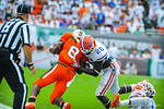 DB Marcus Maye makes the tackle.  Gators vs Miami.  9-07-13.
