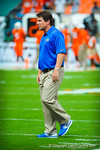 Coach Muschamp watches his gators warm up.  Gators vs Miami.  9-07-13.
