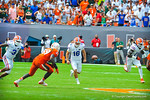 K Austin Hardin attempts the onside kick.  Gators vs Miami.  9-07-13.