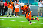 Miami RB Duke Johnson takes the kickoff.  Gators vs Miami.  9-07-13.