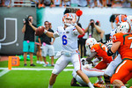 QB Jeff Driskel throws downfield.  Gators vs Miami.  9-07-13.