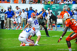 K Austin Hardin kicks the extra point.  Gators vs Miami.  9-07-13.