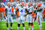 The gator defense waits for the game to start back during a TV timeout.  Gators vs Miami.  9-07-13.