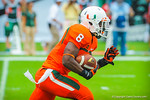 Miami RB Duke Johnson takes off running after receiving the kickoff.  Gators vs Miami.  9-07-13.