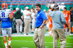 Coach Muschamp is all smiles as his gators warm up for the Miami game.  Gators vs Miami.  9-07-13.