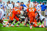 RB Matt Jones is hit.  Gators vs Miami.  9-07-13.