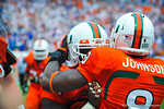 Miami RB Duke Johnson celebrates his touchdown.  Gators vs Miami.  9-07-13.