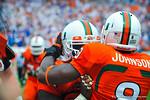 Miami RB Duke Johnson celebrates his touchdown.  Gators vs Miami.  9-07-13.