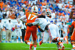 LB Ronald Powell sacks Miami QB Stephen Morris.  Gators vs Miami.  9-07-13.