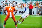 Kicker Austin Hardin kicks off the ball.  Gators vs Miami.  9-07-13.
