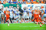 RB Valdez Showers runs down the sideline.  Gators vs Miami.  9-07-13.