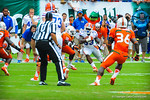 RB Mack Brown takes the handoff.  Gators vs Miami.  9-07-13.
