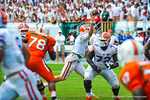 QB Jeff Driskel throws downfield to an open Solomon Patton for a gator touchdown.  Gators vs Miami.  9-07-13.