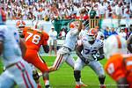 QB Jeff Driskel throws downfield to an open Solomon Patton for a gator touchdown.  Gators vs Miami.  9-07-13.