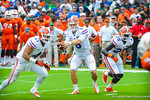 QB Jeff Driskel play fakes and then ran in for the touchdown.  Gators vs Miami.  9-07-13.