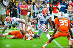 WR Solomon Patton runs upfield after receiving the kickoff.  Gators vs Miami.  9-07-13.