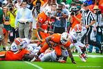 Miami RB Duke Johnson takes the kickoff.  Gators vs Miami.  9-07-13.