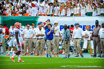 Coach Muschamp tries to encourage his Gator offense.  Gators vs Miami.  9-07-13.