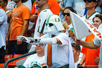 A Miami fan tries to use the force to stop the Gator offense.  Gators vs Miami.  9-07-13.