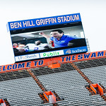 Players and their families watched the jumbotron while waiting for Friday Night Lights to start.