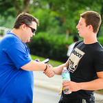 Florida 2015 tight end Garrett Williams interviews with Andrew Spivey before Friday Night Lights at Ben Hill Griffin Stadium on Friday July 26, 2013..
