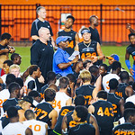 Gator coaches and staff talk to the high school football players at the end of Friday Night Lights.