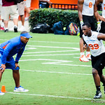 Chris Leak watches on as the high school players participate in drills during Friday Night Lights at Ben Hill Griffin Stadium on July 26, 2013.
