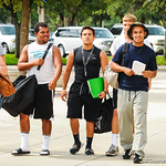 High school football players arrive at Ben Hill Griffin Stadium for Friday Night Lights on Friday July 26, 2013.
