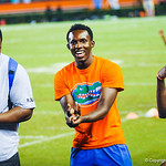 Florida football players have a good time on the sideline during Friday Night Lights on July 26, 2013.
