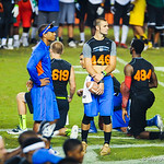 2014 QB commit Will Grier and Chris Leak talk during a drill at Friday Night Lights on Friday July 26, 2013.