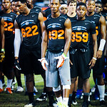 2014 wide receiver Travis Rudolph prepares to participate in a drill during Friday Night Lights on July 26, 2013.