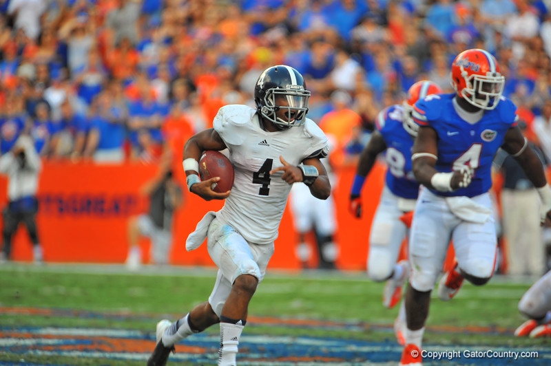Georgia Southern QB Kevin Ellison keeps the ball and sprints around the outside past the Florida Gator defense and into the endzone in the second quarter.  Florida Gators vs Georgia Southern Eagles.  Gainesville, FL.  November 23, 2013.