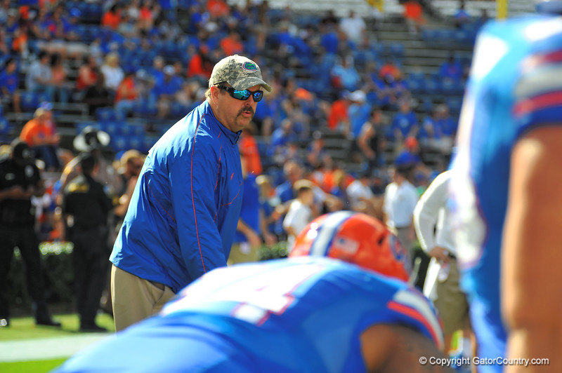 Florida Gator offensive line coach Tim Davis.  Florida Gators vs Georgia Southern Eagles.  Gainesville, FL.  November 23, 2013.