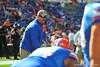 Florida Gator offensive line coach Tim Davis.  Florida Gators vs Georgia Southern Eagles.  Gainesville, FL.  November 23, 2013.