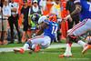 Florida Gator DB Jaylen Watkins makes the touchdown saving tackle on Georgia Southern RB Devin Scott.  Florida Gators vs Georgia Southern Eagles.  Gainesville, FL.  November 23, 2013.