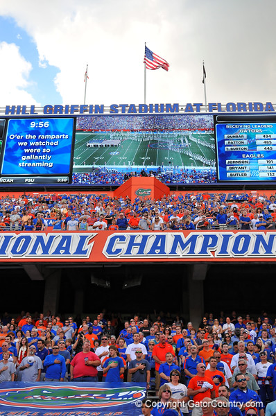 The Florida Gator fans sing the national anthem along with the Gator band.  Florida Gators vs Georgia Southern Eagles.  Gainesville, FL.  November 23, 2013.
