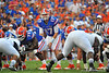 Florida Gator QB Skyler Mornhinweg calls out the play at the line of scrimmage.  Florida Gators vs Georgia Southern Eagles.  Gainesville, FL.  November 23, 2013.