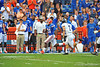 Florida Gator RB Kelvin Taylor sprints down the sideline in the first quarter.  Florida Gators vs Georgia Southern Eagles.  Gainesville, FL.  November 23, 2013.