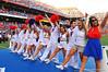 The Florida Gator cheerleaders sing the Alma Matter during the third quarter intermission.  Florida Gators vs Georgia Southern Eagles.  Gainesville, FL.  November 23, 2013.