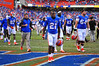Florida Gator RB Kelvin Taylor and the rest of the Gator team walk off the field after a dissapointing loss to Georgia Southern.  Florida Gators vs Georgia Southern Eagles.  Gainesville, FL.  November 23, 2013.