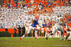 Florida Gator WR Quinton Dunbar makes the reception and rushes to get out of bounds and stop the clock in the fourth quarter.  Florida Gators vs Georgia Southern Eagles.  Gainesville, FL.  November 23, 2013.