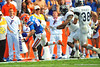 Florida Gator wide receiver Solomon Patton tiptoes the line trying to stay in bounds and pick up the first down in the second quarter.  Florida Gators vs Georgia Southern Eagles.  Gainesville, FL.  November 23, 2013.