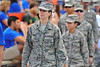 A member of the US Air Force walking onto the field at the Georgia Southern game.  The University of Florida was honoring those who served throughout the game.Florida Gators vs Georgia Southern Eagles.  Gainesville, FL.  November 23, 2013.
