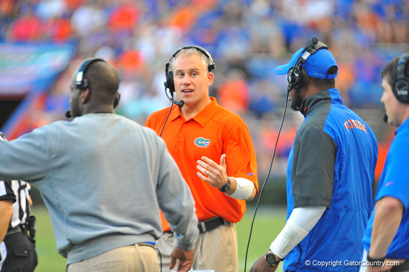 Florida Gator defensive coordinator DJ Durkin on the sideline in the fourth quarter.  Florida Gators vs Georgia Southern Eagles.  Gainesville, FL.  November 23, 2013.