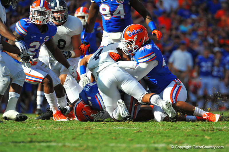 Florida Gator LB Michael Taylor dives on the lose ball for a fumble recovery in the first quarter.  Florida Gators vs Georgia Southern Eagles.  Gainesville, FL.  November 23, 2013.
