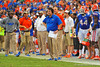 Florida Gator head coach Will Muschamp reacts to the Georgia Southern touchdown late in the fourth quarter.  Florida Gators vs Georgia Southern Eagles.  Gainesville, FL.  November 23, 2013.