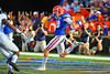 Florida Gator punter Johnny Townsend rushes to get the kick off from the endzone.  Florida Gators vs Georgia Southern Eagles.  Gainesville, FL.  November 23, 2013.