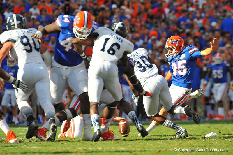 Florida Gator kicker Frankie Velez has his field goal attempt blocked by Georgia Southern CB Valdon Cooper.  Florida Gators vs Georgia Southern Eagles.  Gainesville, FL.  November 23, 2013.