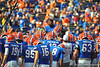 Florida Gator defensive back Loucheiz Purifoy is lifted up by his team mates as they gather at mid field after warm ups.  Florida Gators vs Georgia Southern Eagles.  Gainesville, FL.  November 23, 2013.